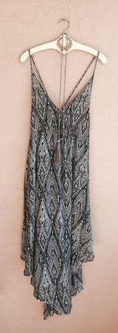 Image of Rare Maxi Free People Black Tribal scarf hem cross over back slipdress