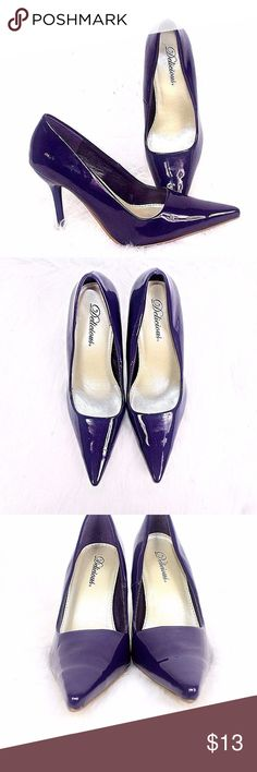 DELICIOUS Womens Eggplant Purple Stiletto Heel Pat DELICIOUS Womens Eggplant Purple Stiletto Heel Patent Leather Shoe Sz 6 1/2 Widest Part of Sole Bed 3 Inches Heel Height 3 1/2 Inches See Photos to rate Condition I see some Indents DELICIOUS Shoes Heels