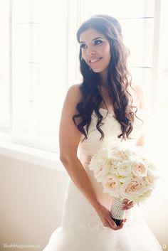 Blush 83 Floral Style, Floral Design, Floral Photography, Floral Arrangements, One Shoulder Wedding Dress, All Things, White Bouquets, Blush, Bride