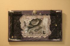 The Mourning Angel, photo altered photo, lace, antique pins, handmade paper on recycled cabinet door,