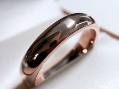 Classic Rose Gold Wedding Band, Rose Gold Tungsten Ring, Domed Tungsten Ring 5mm