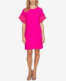CeCe Ruffle-Sleeve Shift Dress   macys.com