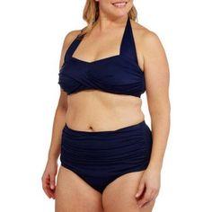 Suddenly Slim By Catalina Women's Plus-Size Slimming High-Waisted Bikini 2 Piece Set, Size: 3XL, Blue