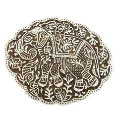 Hand Carved Stamp Wooden Printing Block Elephant Decorative Blocks ...