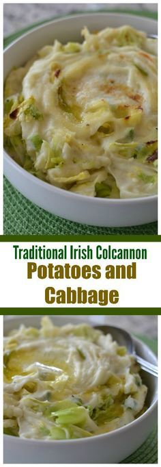 Traditional Irish Colcannon Potatoes and Cabbage - Irish dishes Sauteed Cabbage, Cabbage And Potatoes, Irish Potatoes, Cooked Cabbage Recipes, Corned Beef Recipes, Colcannon Potatoes, Colcannon Recipe, Side Dish Recipes, Vegetable Recipes