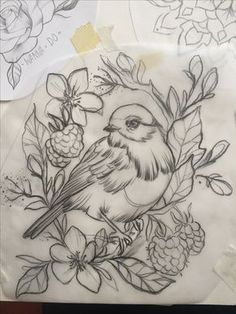 Bird drawing tattoo Vorlage Skizze paint Art Berry pencil Bleistift Entwurf cute Animal