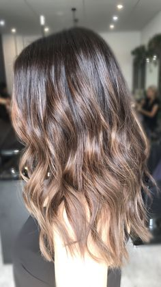 Brunette golden brown hair Long hair  Balayage