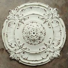 Our metal chandelier ceiling medallion will make a beautiful statement piece in any farmhouse dining room with its ornate and distressed white finish. Dining Chandelier, Metal Chandelier, Farmhouse Chandelier, Iron Chandeliers, Farmhouse Ceiling Medallions, Antique Farmhouse, Farmhouse Decor, Rustic Decor, Painted Fox Home