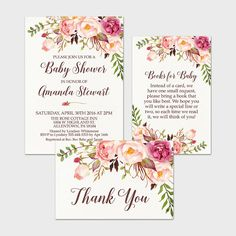 Rustic Floral Baby Shower Invite Bohemian by MossAndTwigPrints