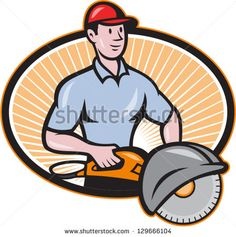 Illustration of a construction worker with concrete saw consaw done in cartoon style. - stock vector #worker #cartoon #illustration