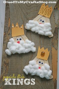 Popsicle Stick Kings - Kid Craft - Glued To My Crafts Popsicle Stick Crafts For Kids, Bible Crafts For Kids, Popsicle Sticks, Craft Stick Crafts, Preschool Crafts, Preschool Christmas, Christmas Crafts For Kids, Holiday Crafts, Spring Crafts