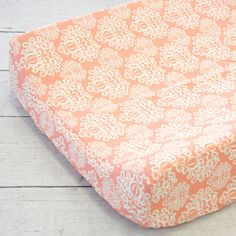 Chloe's Coral Damask Baby Bedding   Coral Damask Changing Pad Cover