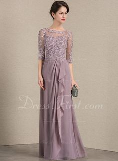 A-Line/Princess Scoop Neck Floor-Length Chiffon Lace Mother of the Bride Dress With Cascading Ruffles - Mother of the Bride Dresses - JJ's House Grad Dresses, Wedding Party Dresses, Nice Dresses, Bridesmaid Dresses, Father Of The Bride Outfit, Mother Of The Bride, Mother Of Groom Dresses, Mothers Dresses, Lace Evening Dresses