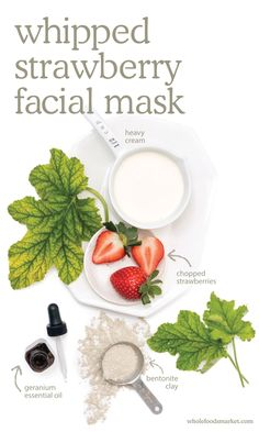 DIY Whipped Strawberry Facial Mask 1. Combine strawberries, heavy cream & essential oil in blender & pulse 3 times to purée. 2. Add bentonite clay & pulse 3 more times, or until mixture thickens. 3. Moisten washcloth & drape over face for 30s. 4. Remove washcloth, apply mask to face, avoiding areas like eyes, lips, & nostrils. 5. Allow mask to dry for 15mins before rinsing. Pat dry & follow w/ toner, as needed. Store in fridge for up to 3 days & use daily or once per week for sensitive skin.