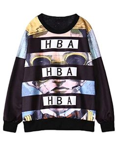 Women's Harajuku Style HBA Loose Long sleeve thick Hoodies Sweatshirts