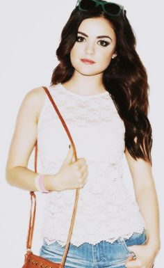 The Darling Lucy Hale - lace tank, lightwash denim, colored sunglasses: a simple but totally cute summer look