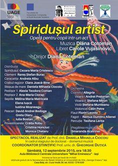 """Opera pentru copii """"Spiridușul artist"""", pe scena BCU Iași"""