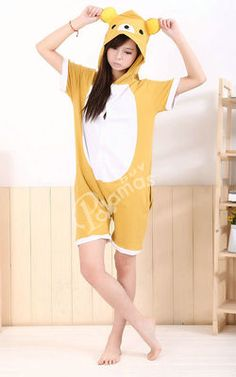 Rilakkuma Pajamas Animal Onesie Hoodie Costume Kigurumi Short Sleeve One  Piece Pajamas 542e7e845