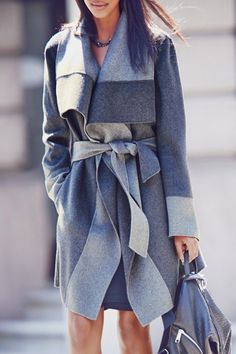 Solid Color Pockets Turn-Down Collar Long Sleeves Coat