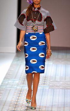# 4 interpretations – garment: Stella Jean Spring/Summer 2014 Trunkshow Look 2 on Moda Operandi African Print Dresses, African Wear, African Attire, African Women, African Dress, African Prints, African Style, African Inspired Fashion, African Print Fashion