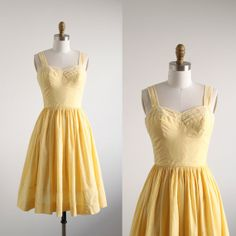 Vintage 1950's Yellow Gingham Dress by salvagelife on Etsy, $95.00