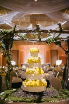 such a unique display to bring nature into a hotel ballroom. yellow and white wedding cake by mary b's cakes