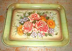 Vintage Tray Tin Tole Green Floral Roses Tin by TheBackShak