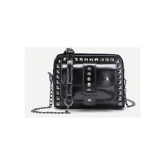 Studded Detail Buckle Crossbody Chain Bag ($24) ❤ liked on Polyvore featuring bags, handbags, shoulder bags, buckle handbags, studded purse, studded handbags, studded crossbody and chain handbags