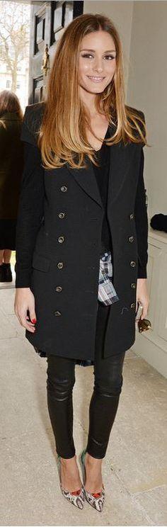 olivia palermo  Who made Olivia Palermos black coat and snake print pumps?