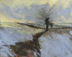 Paul Bailey ART — Winter hillside pollards/Acrylic on paper/20 x 16...