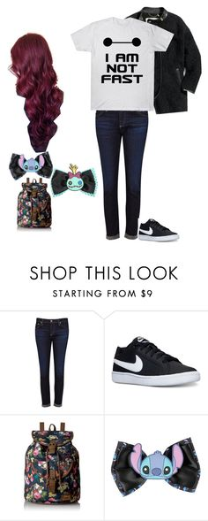 Disney trip outfit by bearmailweird on Polyvore featuring AG Adriano Goldschmied, NIKE, Loungefly, Disney and GURU