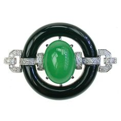 Myanmar Jadeite,Onyx  Diamond in 18k WG