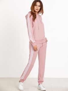 Shop Raglan Sleeve Striped Hoodie And Sweatpants Set online. SheIn offers Raglan Sleeve Striped Hoodie And Sweatpants Set & more to fit your fashionable needs. Sporty Outfits, Athletic Outfits, Girl Outfits, Cute Outfits, Fashion Outfits, Fast Fashion, Fashion Online, Fashion Women, Preppy Dresses
