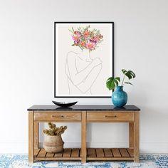 Minimalist Line Art Modern Flower Wall Art Minimal Woman   Etsy Abstract Line Art, Wall Decor, Room Decor, International Paper Sizes, Flower Wall, Printable Wall Art, Printing Services, Art Reference, Minimalism