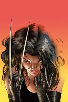 Laura Kinney from the cover of Avengers Arena by Mike Deodato, Jr. in an homage to Frank Miller's iconic cover for the Wolverine Limited Series Marvel Dc, Marvel Comics, Marvel Girls, Comics Girls, Marvel Women, Marvel Heroes, Comic Book Characters, Marvel Characters, Comic Character