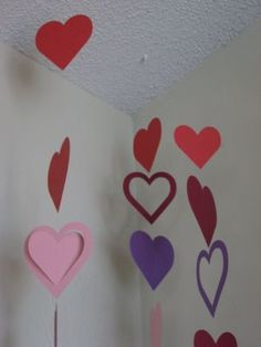heart hanging garland - sewn on machine down the center with clear thread...very clever