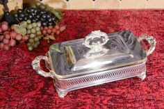 Silver Plate Loaf Pan Stand with Glass Baking Dish by PearlsParlor