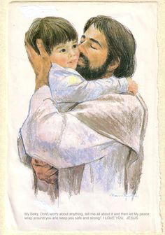 painting of this is love Jesus holding boy