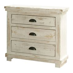 Enjoy a rustic look in your bedroom with this beautiful distressed white nightstand. Available in a variety of pine wood finishes, this nightstand matches nearly any decor. This nightstand has three d
