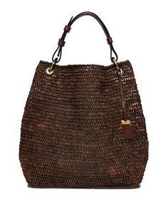Santorini Large Raffia Shoulder Bag, Nutmeg by Michael Kors Collection at Neiman Marcus.
