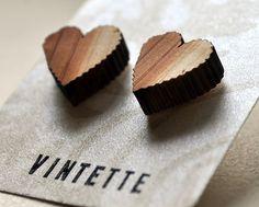 Earrings Wood Lasercut Heart Sustainable Small Stud by Vintette, $10.00