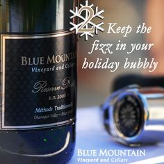 """To celebrate a great year we're toasting with a days of Christmas"""" giveaway! We will feature one Blue Mountain wine or gift for each of the next 12 days along with the perfect holiday occasion to enjoy them or ideas on who to share them with. Christmas Giveaways, 12 Days Of Christmas, Blue Mountain, Bubbles, December, At Least, Notes, Wine, Bottle"""