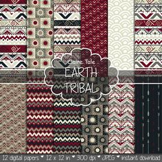 "Tribal digital paper: ""EARTH TRIBAL"" with tribal patterns and tribal backgrounds, arrows, feathers, leaves, chevrons in red and beige"