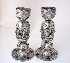 These are wonderful   Silver Candlesticks inlaid with gem stones. by SilverWoodStone, $1163.00