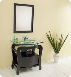 Fresca Grazioso Espresso Modern Small Bathroom Vanity w/ Mirror & Faucet