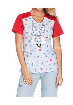 c5590903a54 Cherokee Tooniforms Medical Scrubs Bugs Bunny Loves U Top Sz XS-XXL NWT  #CherokeeTooniforms