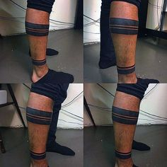 Gentleman With Blackwork Ankle Band Tattoo