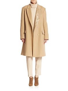 DKNY - Embellished Notched-Collar Coat