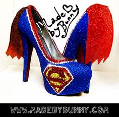 Superman heel design with Crystal by MadeByBunny on Etsy, $150.00