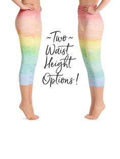 50b719240e889 Capri Leggings Women, Pastel Rainbow, Yoga Capris, Rainbow Clothing,  Spinning Pants,